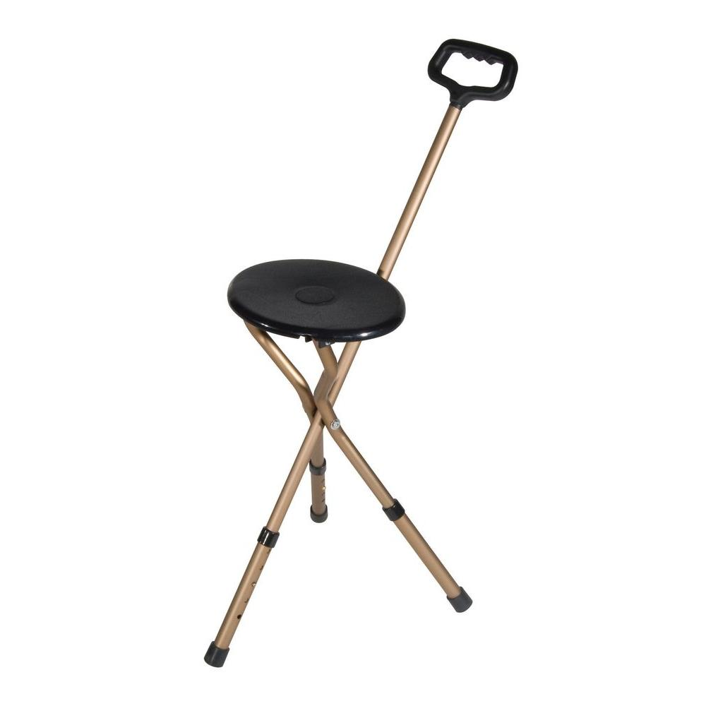 Folding Lightweight Adjustable Height Cane Seat in Bronze
