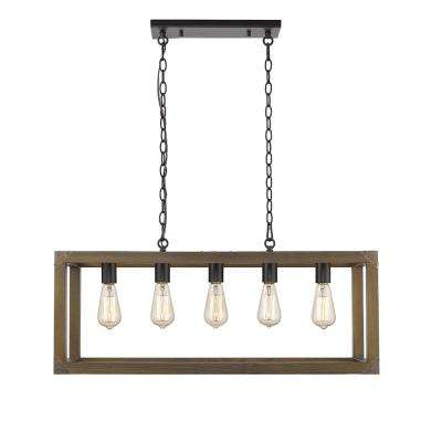 Sawyer II 3-Light Black Metal and Brown Finish Wood 31.5 in. LED Pendant