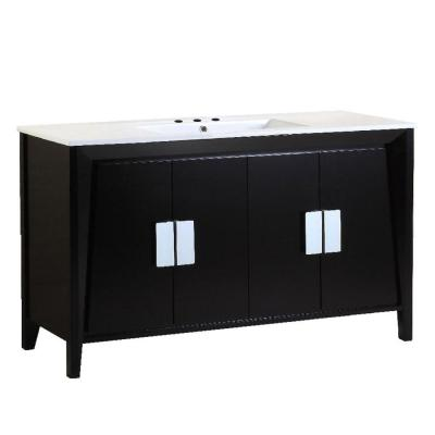 Clara 48 in. W x 18 in. D x 33 in. H Single Vanity in Dark Espresso with Ceramic Vanity Top in White with White Basin