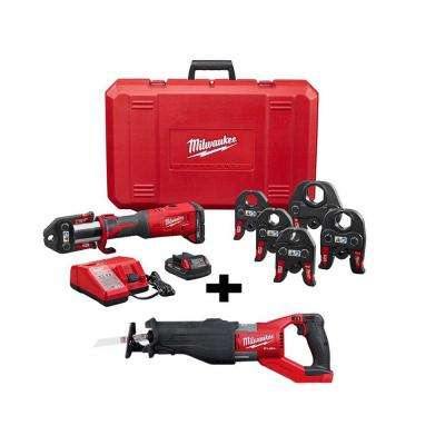 M18 18-Volt Lithium-Ion Brushless Cordless Force Logic Press Tool Kit with 1/2 in. to 2 in. Jaws with Free Super Sawzall