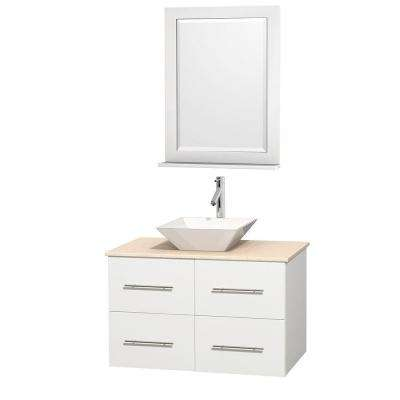 Centra 36 in. Vanity in White with Marble Vanity Top in Ivory, Porcelain Sink and 24 in. Mirror
