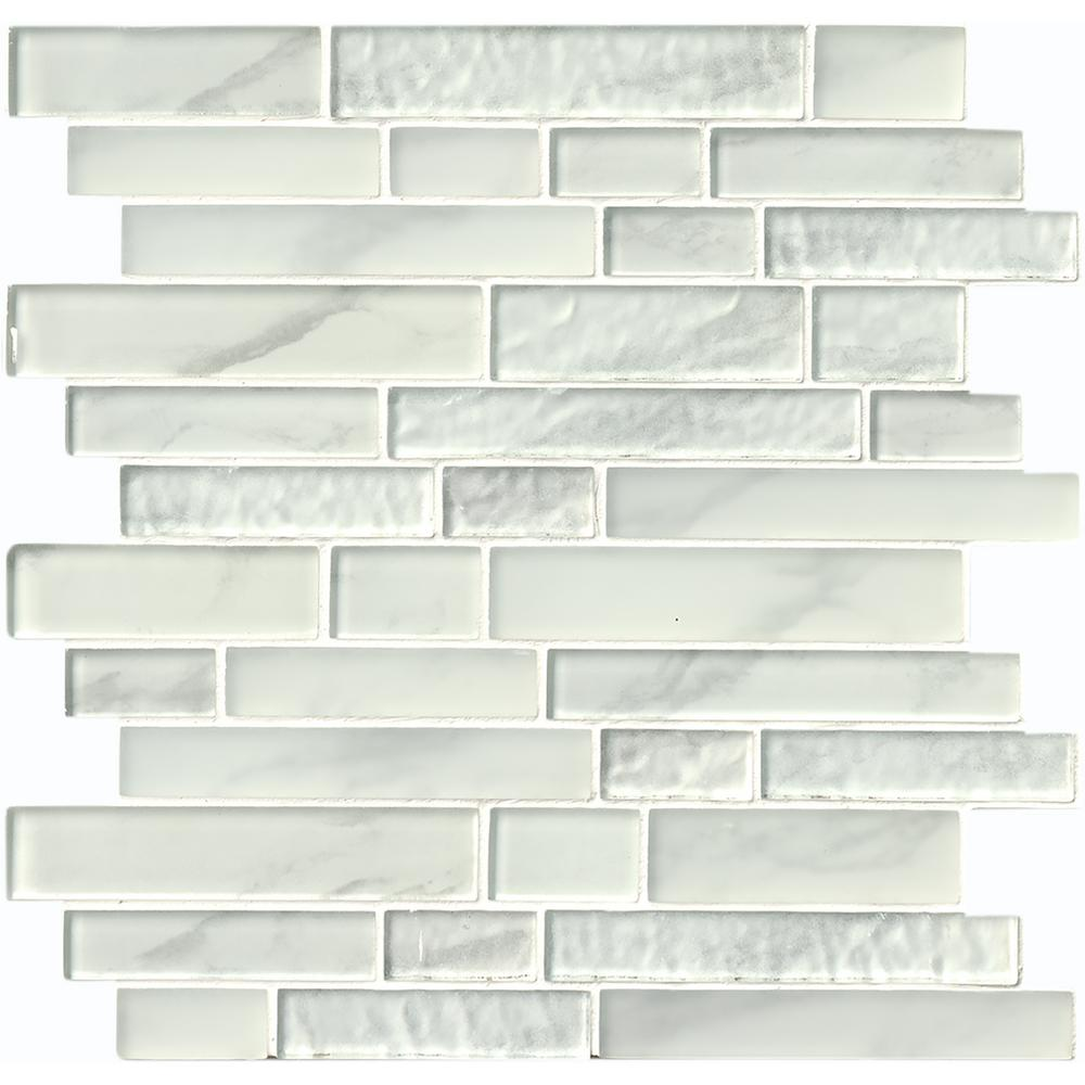 Daltile Finesse Glossy White 12 In X 13 In X Mm Porcelain Mosaic Tile Fe0811pnyrdhd1p