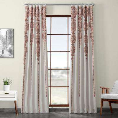 Cyprus Rust Orange Printed Linen Textured Blackout Curtain - 50 in. W x 120 in. L (1-Panel)