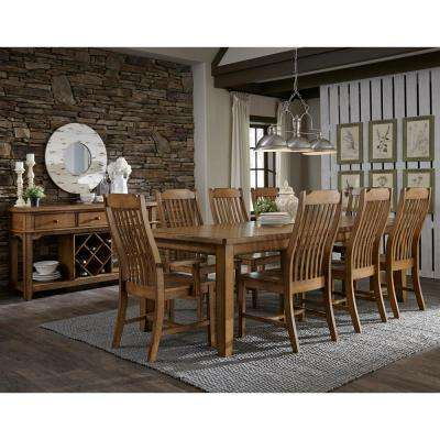 Distressed Pecan Wood Steam Bent Mission Dining Chair (Set of 2)
