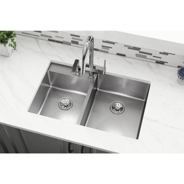 Elkay Crosstown Undermount Stainless Steel 33 In 2 Hole Double Bowl Left Lowered Deck Kitchen Sink With Centered Faucet Holes Ectrud31199l2 The Home Depot