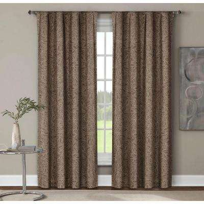 Semi-Opaque Leila Printed Cotton Extra Wide 84 in. L Rod Pocket Curtain Panel Pair, Mocha (Set of 2)