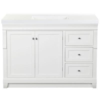 Naples 49 in. W x 22 in. D Bath Vanity in White with Cultured Marble Vanity Top in White with White Sink