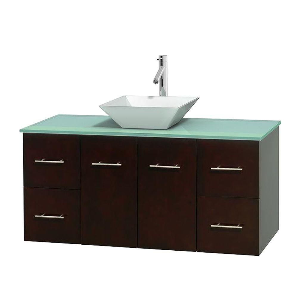 Wyndham Collection Centra 48 in. Vanity in Espresso with Glass Vanity Top in Green and Porcelain Sink