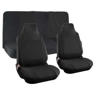 Polyester Seat Covers Set 26 in. L x 21 in. W x 48 in. H 4-Piece Seat Cover Set Integrated Bench Solid Black