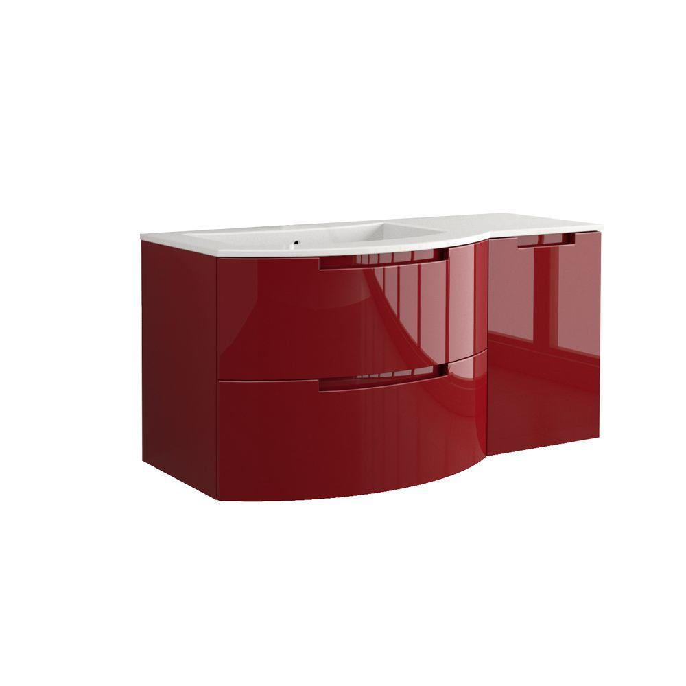LaToscana Oasi 43 in. W x 20-1/2 in. D Vanity in Glossy Red with Tekorlux Vanity Top in White with White Basin