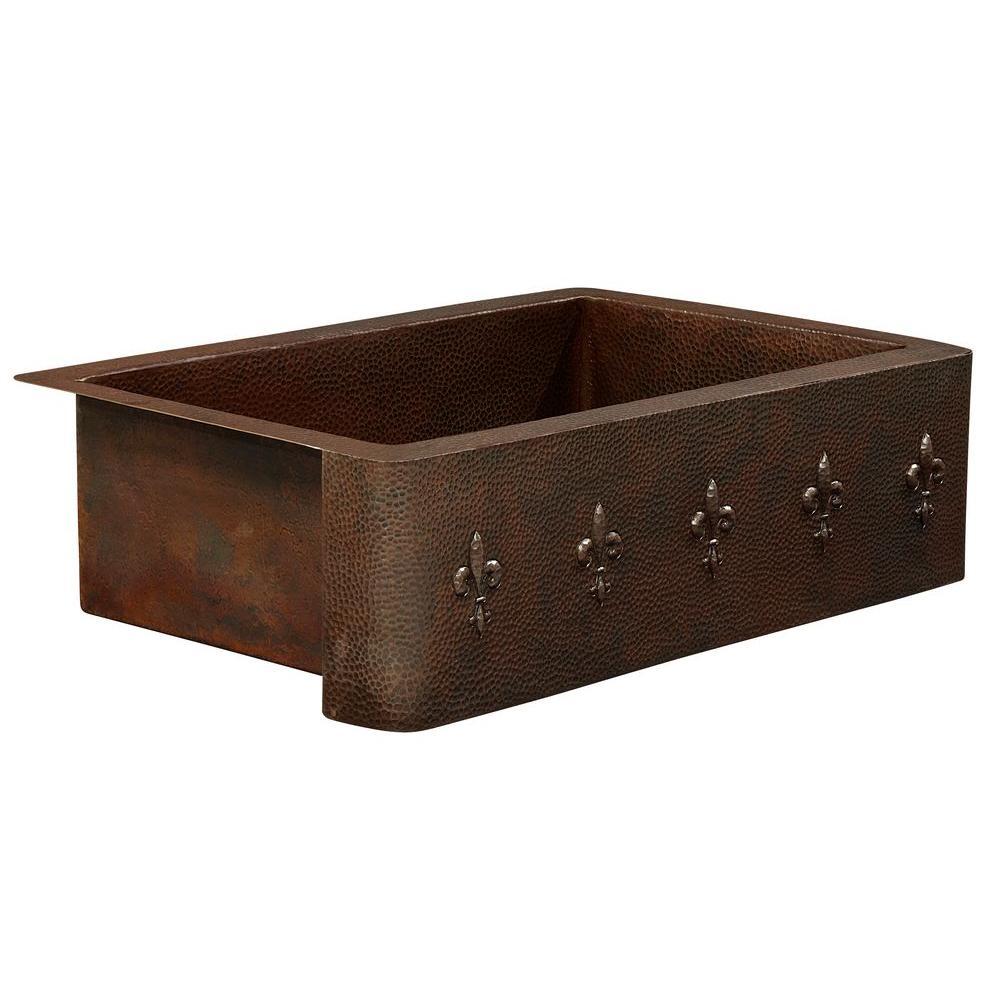 Rodin Farmhouse Apron Front Handmade Pure Solid Copper 33 in. Single Bowl Copper Kitchen Sink with Fleur de Lis