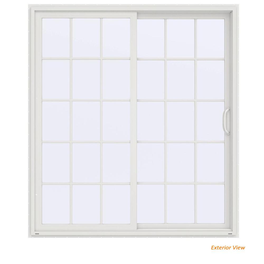 72 in. x 80 in. V-4500 Contemporary White Vinyl Right-Hand 15 Lite Sliding Patio Door