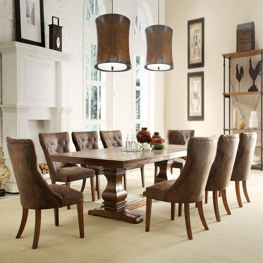Oak Dining Room Furniture: HomeSullivan Regina 9-Piece Weathered Oak Dining Set