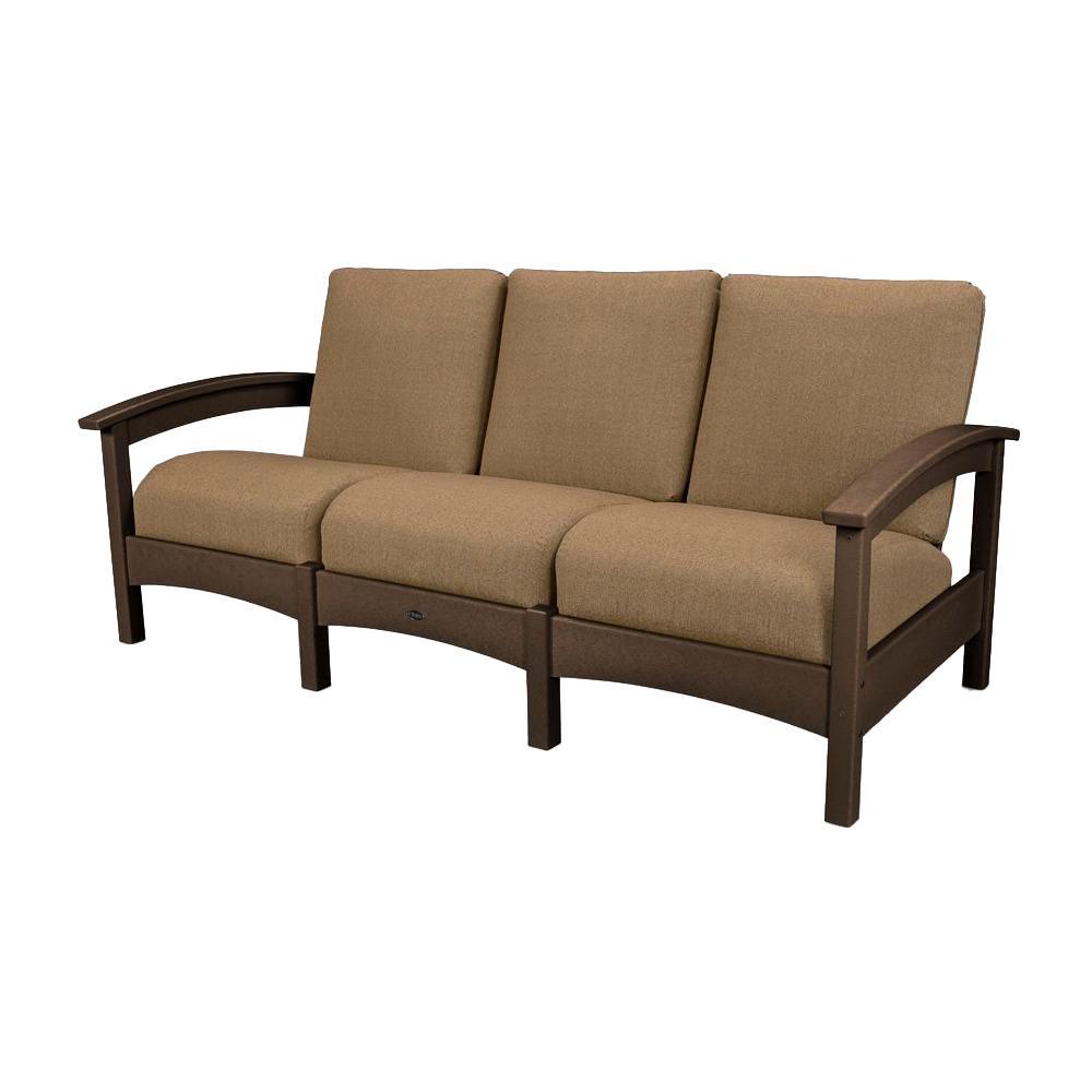 POLYWOOD Mission Black Patio Sofa With Birds Eye Cushions - Sofa club
