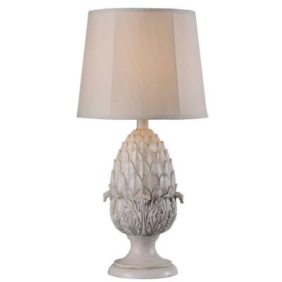 Artichoke 30 in. H Roman White Outdoor Table Lamp