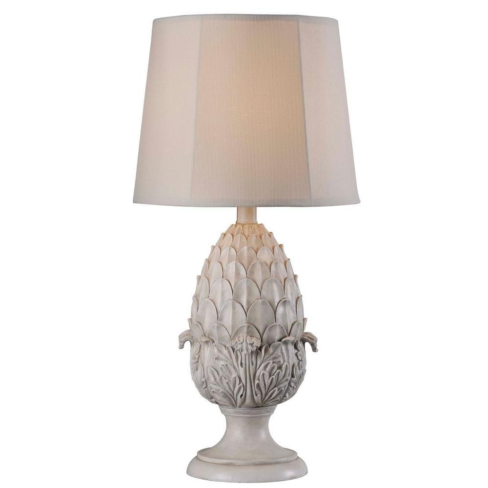 Artichoke 30 in. H Roman White Outdoor Table Lamp