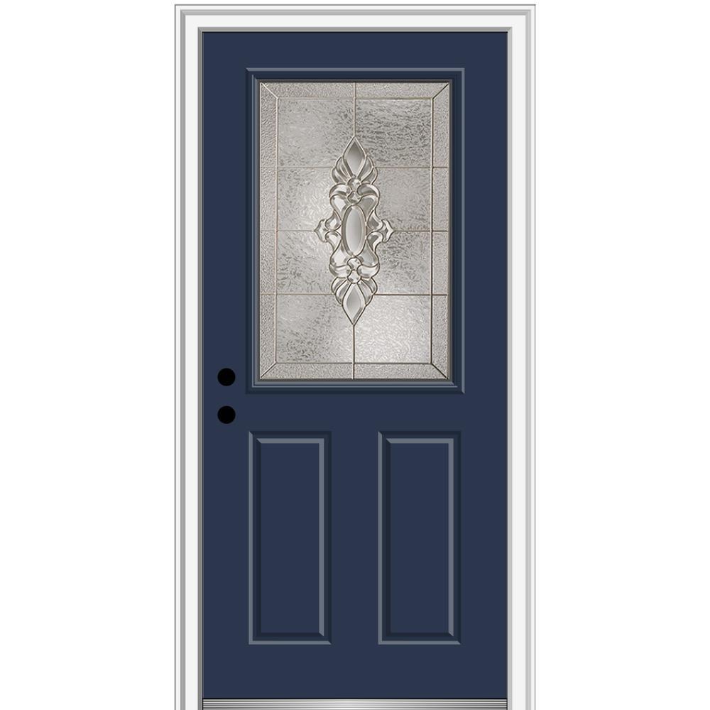 32 in. x 80 in. Heirlooms Right-Hand Inswing 1/2-Lite Decorative 2-Panel Painted Steel Prehung Front Door