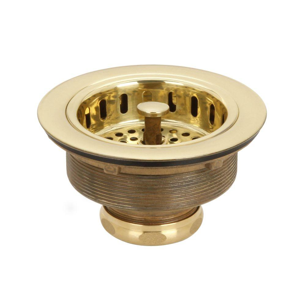 3-1/2 in. Post Basket Strainer in Polished Brass