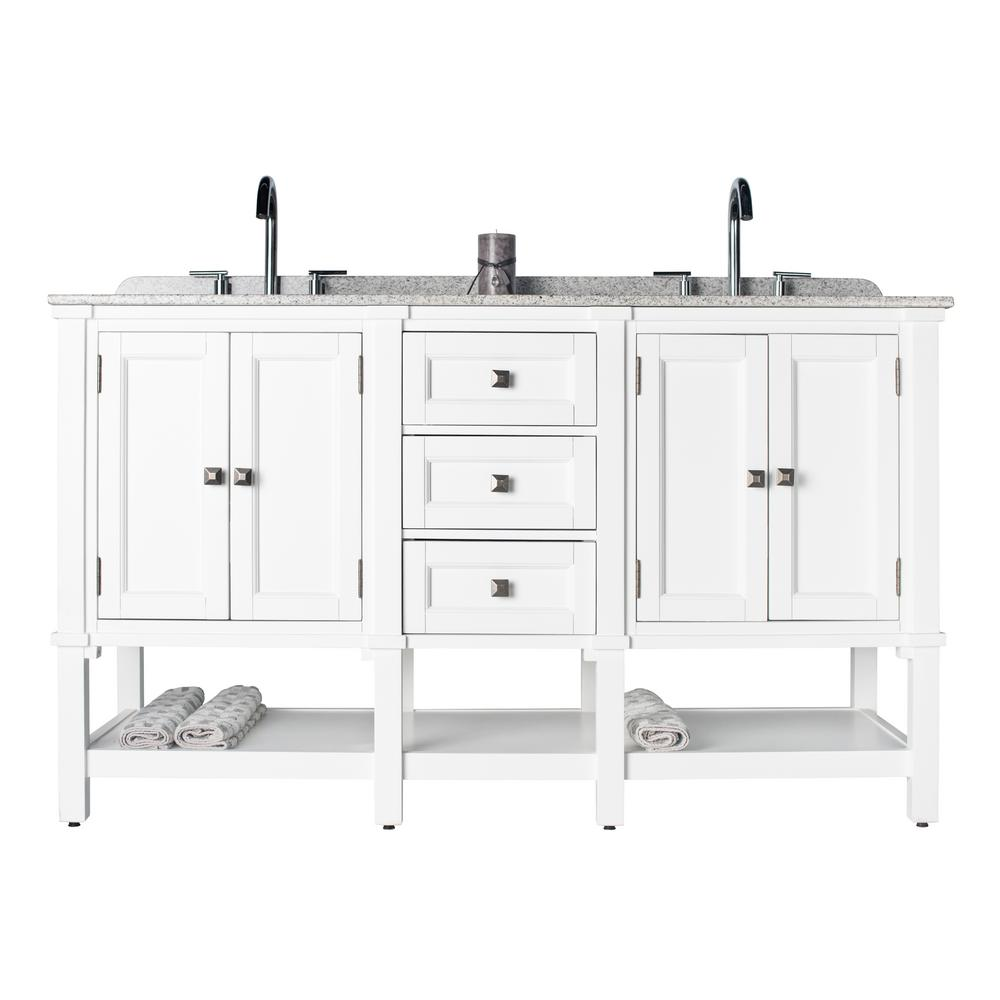 JSG Oceana Ashlyn Double 22 in. W x 36 in. D Bath Vanity in White with Granite Vanity Top in White with Black Nickel Basins