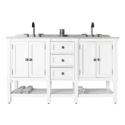 Ashlyn Double 22 in. W x 36 in. D Bath Vanity in White with Granite Vanity Top in White with Black Nickel Basins