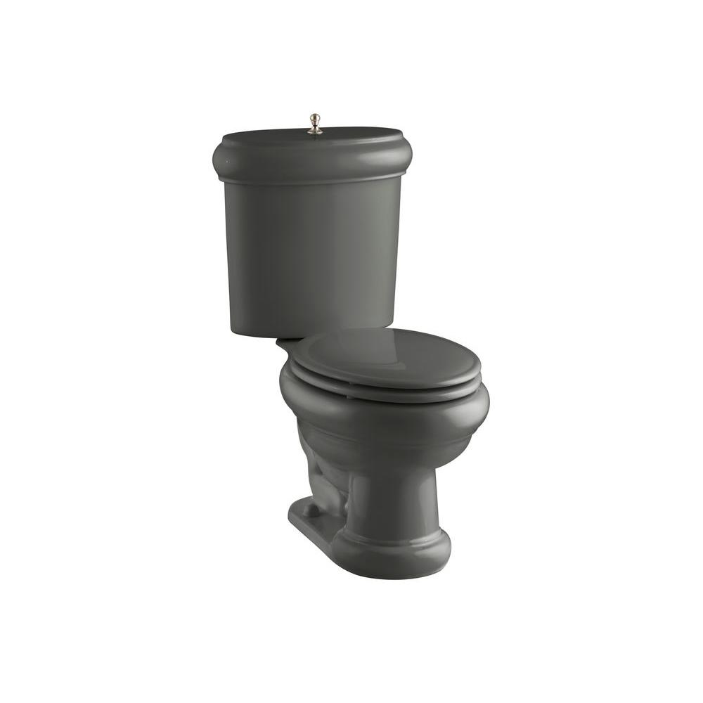 KOHLER Revival 2-piece 1.6 GPF Elongated Toilet with Seat and Trim in Thunder Grey