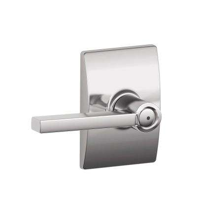 Latitude Bright Chrome Privacy Bed/Bath Door Lever with Century Trim