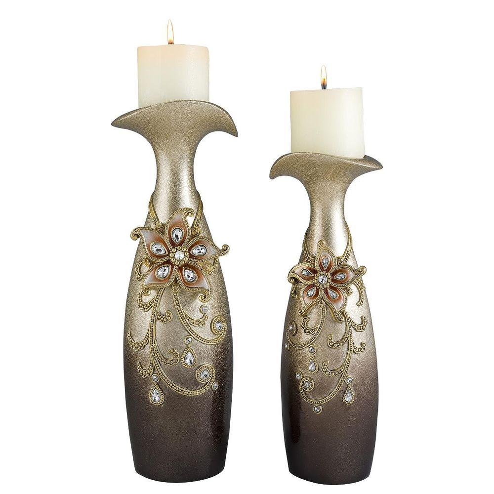 ORE International 14 in. and 16 in. Sapphire Rose Candle Holder Set