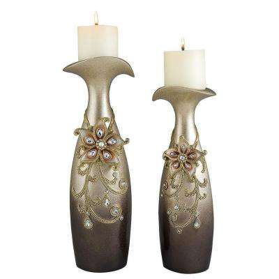 14 in. and 16 in. Sapphire Rose Candle Holder Set