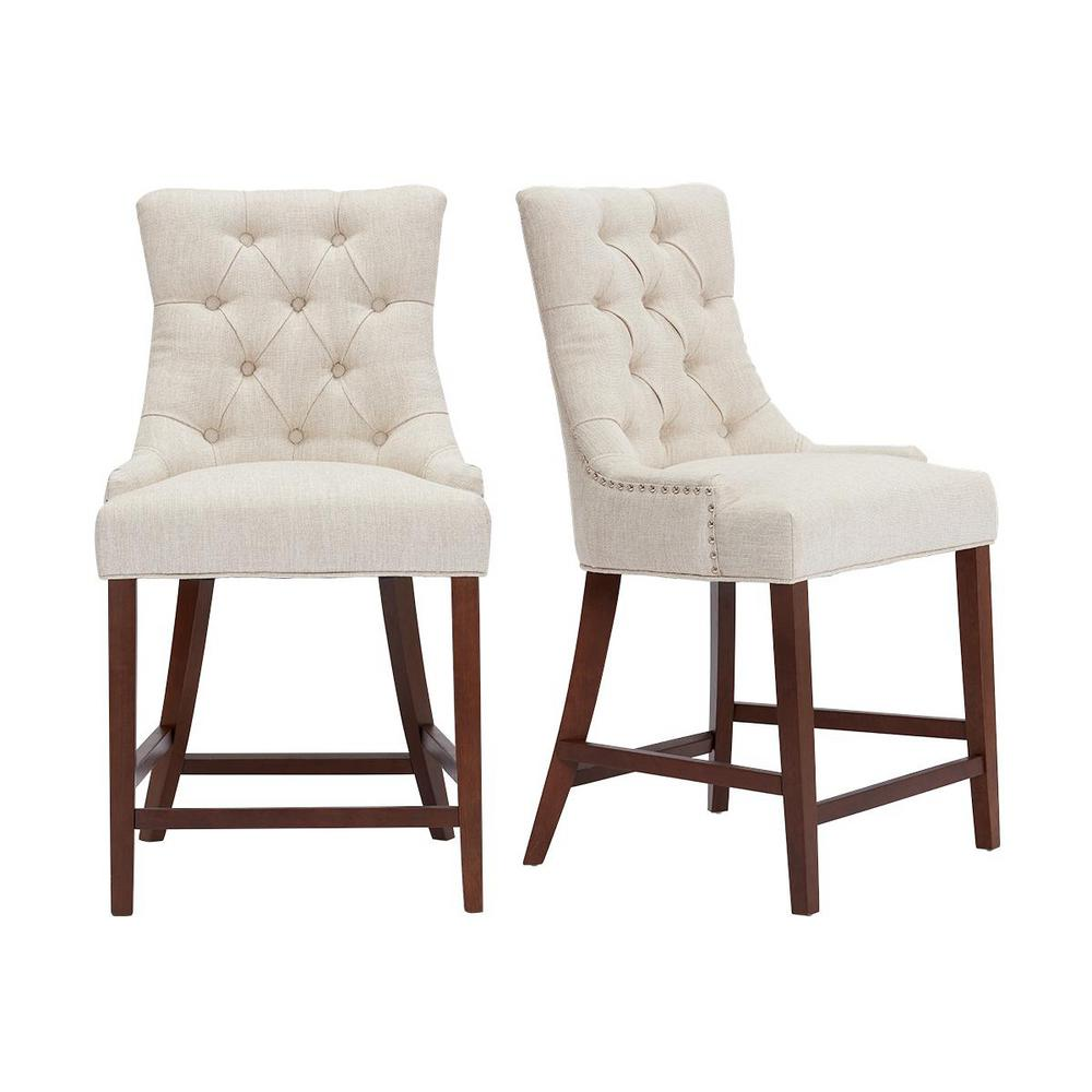 Bakerford Wood Upholstered Counter Stool with Back and Biscuit Beige Seat (Set of 2) (21.85 in. W x 40.55 in. H)