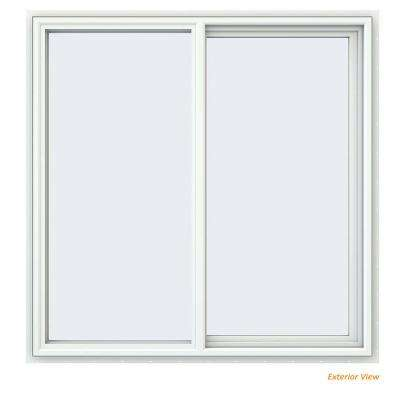 47.5 in. x 47.5 in. V-4500 Series White Vinyl Right-Handed Sliding Window with Fiberglass Mesh Screen