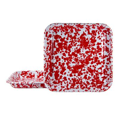 10.5 in. Red Swirl Enamelware Square Plates (Set of 2)