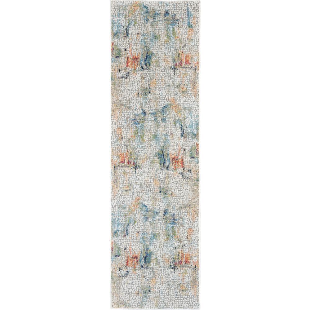 Global Vintage White Multicolor 2 ft. x 8 ft. Textured Hallway Runner Rug