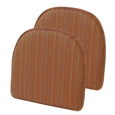 Gripper Non-Slip 15 in. x 16 in. Harmony Bittersweet Stripe Chair Cushions (Set of 2)