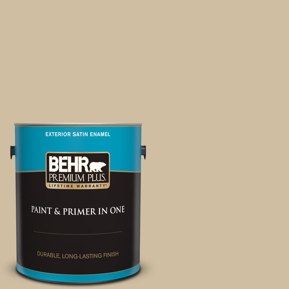 Behr Premium Plus 1 Gal S320 3 Final Straw Satin Enamel Exterior Paint And Primer In One 940001 The Home Depot