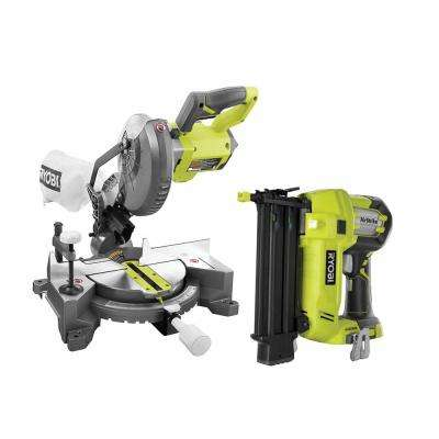 18-Volt ONE+ Lithium-Ion Cordless 7-1/4 in. Compound Miter Saw and AirStrike 18-Gauge Brad Nailer (Tools Only)