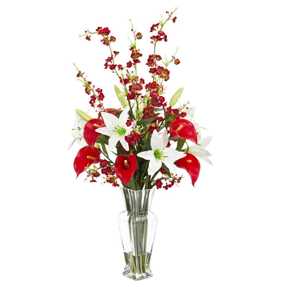 Indoor Calla, Lily and Cherry Blossom Artificial Arrangement