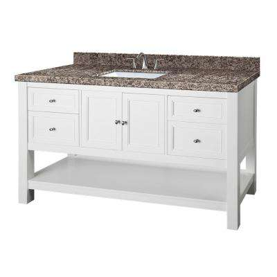 Gazette 61 in. W x 22 in. D Vanity in White with Granite Vanity Top in Sircolo and Single White Sink