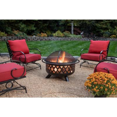 30 in. D Bronze Finish Portable Lattice Wood Burning Fire Pit