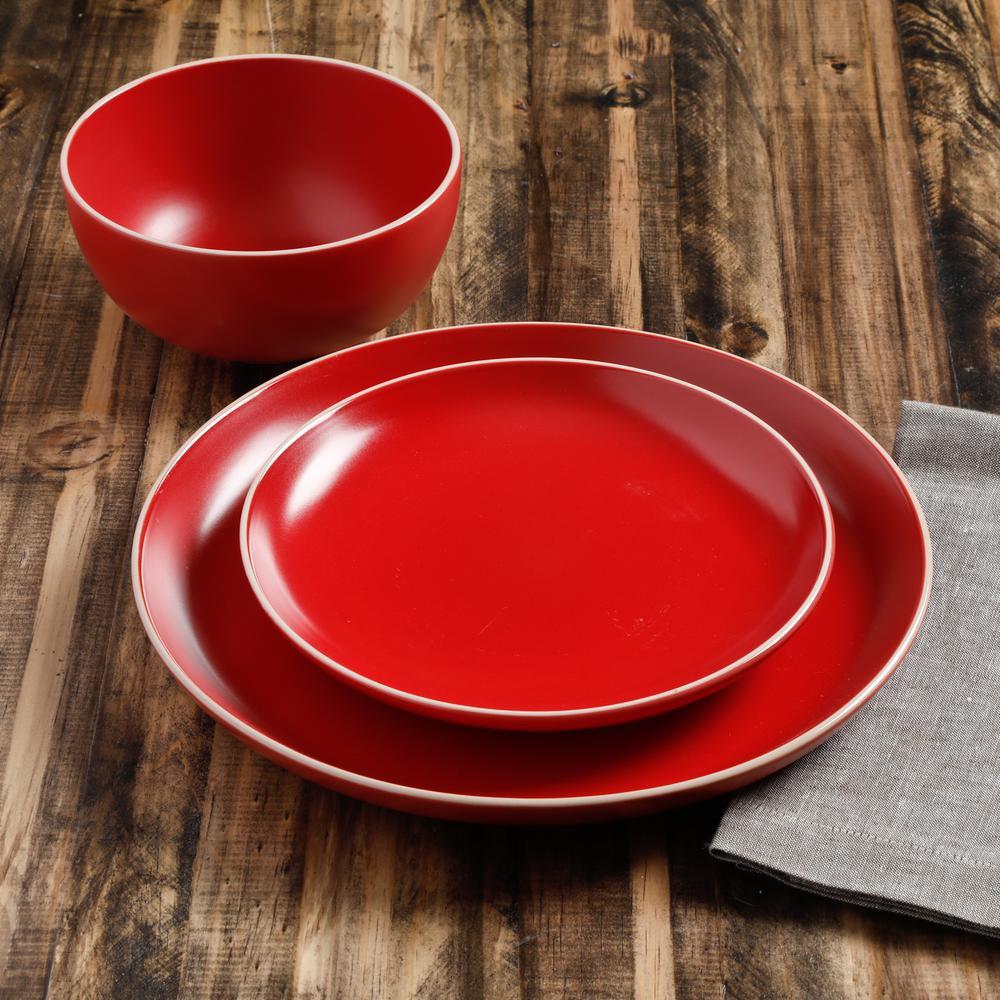 Rockaway 12-Piece Modern Red Ceramic Dinnerware Set (Service for 4)