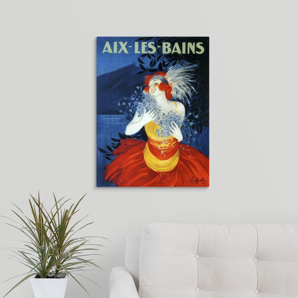 """Aix-Les-Bains - Vintage Travel Advertisement"" by Vintage Apple Collection Canvas Wall Art"