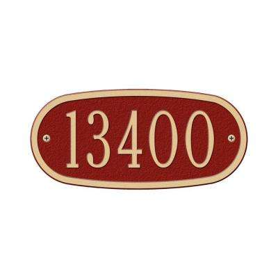 Oval Red/Gold Petite Wall One Line Address Plaque