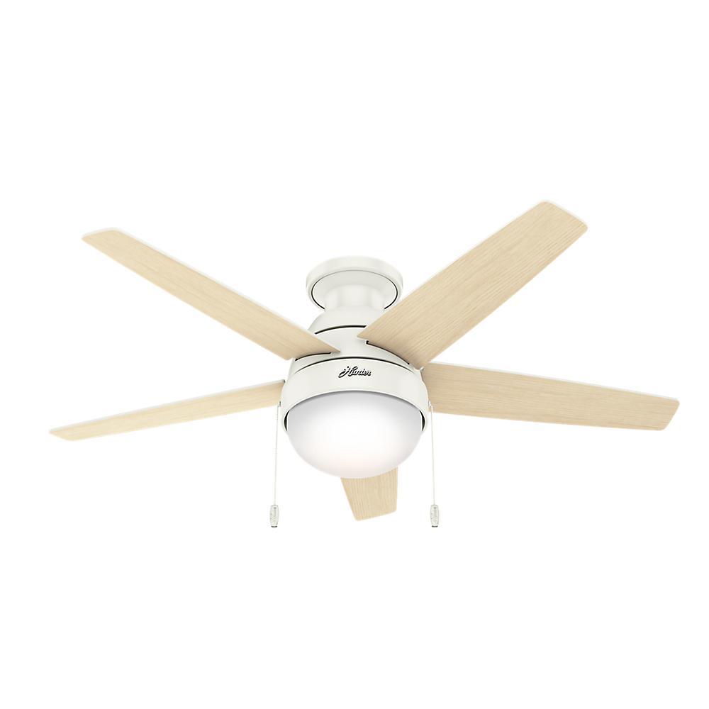 Parmer 46 in. LED Indoor Fresh White Flush Mount Ceiling Fan with Light Kit