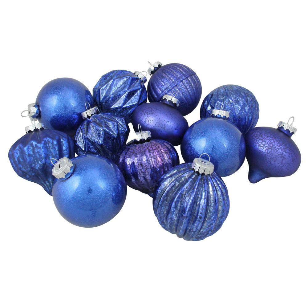 3.25 in. (80 mm) 12-Piece Blue Assorted Distressed Finish Glass Christmas