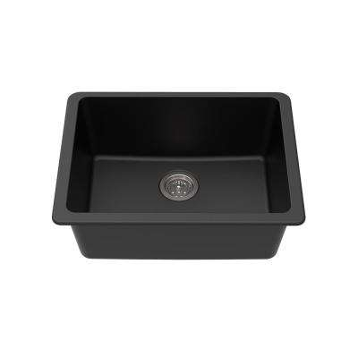 Undermount Granite Composite 25 in. L x 18-1/2 in. L x 9-1/2 in. Single Bowl Kitchen Sink in Black