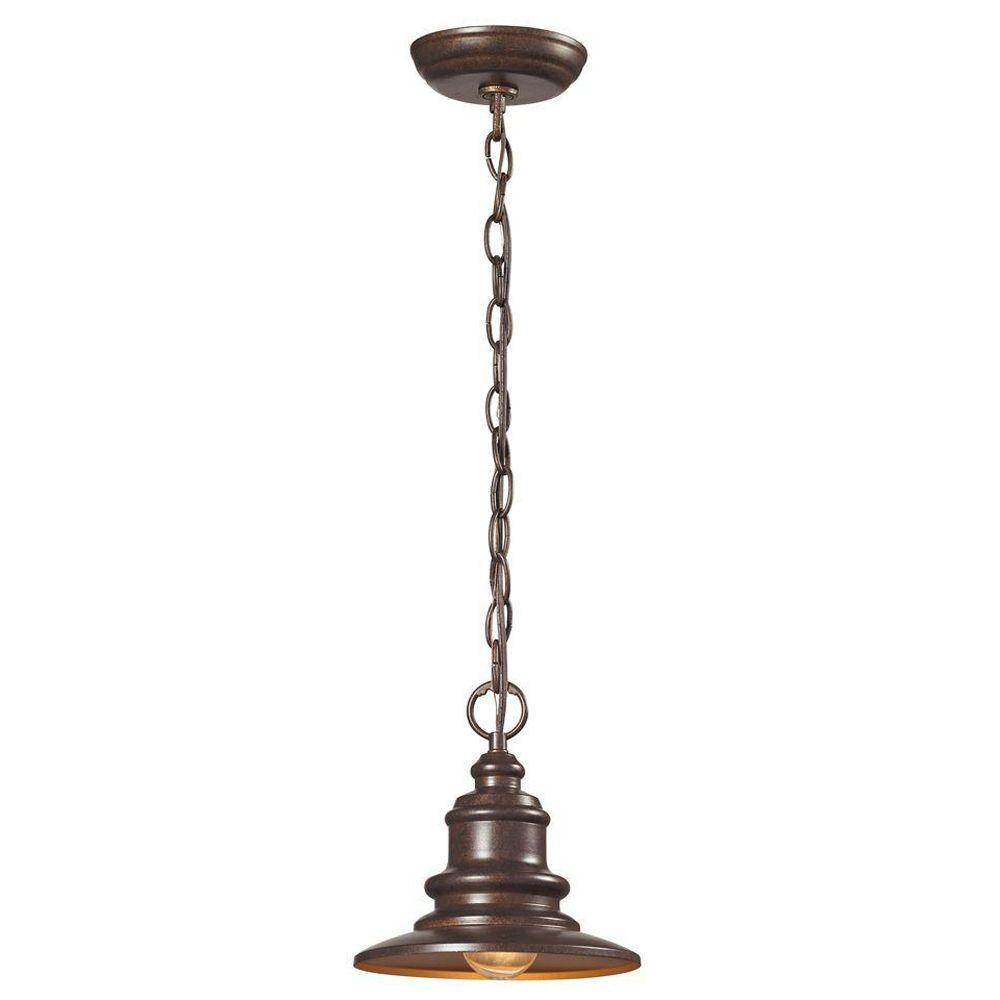 Titan Lighting Marina 1-Light Hazelnut Bronze Outdoor Pendant