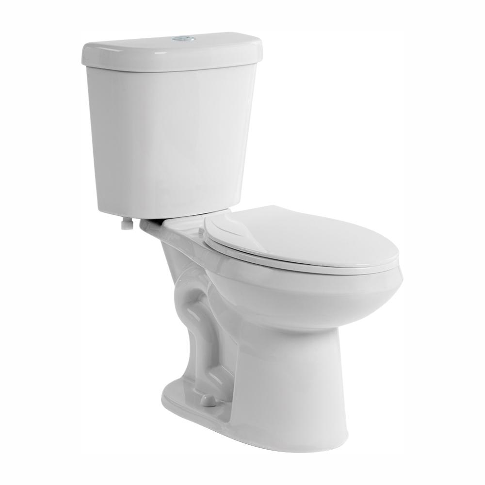 Glacier Bay 2-piece 1.1 GPF/1.6 GPF Dual Flush Round Toilet in White, Seat Included (3-Pack)