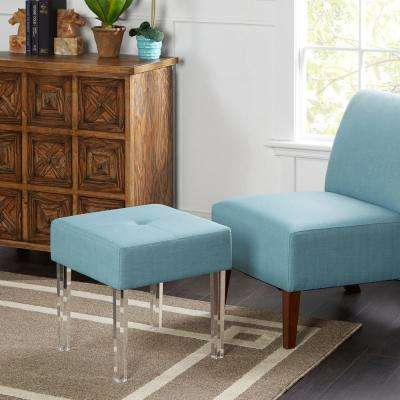 Everly Blue Acrylic Leg Single Seat Bench