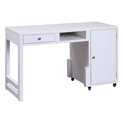 Benjara 20 in. Rectangular White 1 Drawer Computer Desk with Wheels
