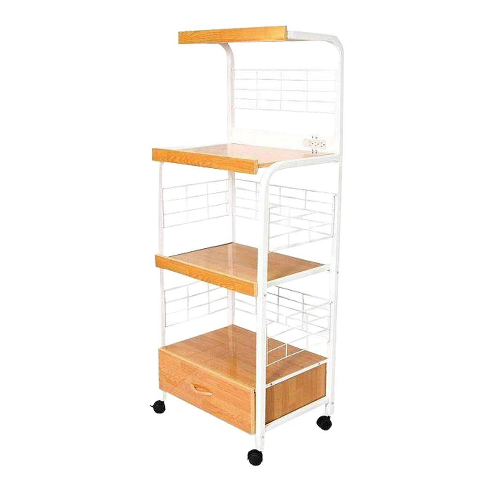 ORE International White Microwave Cart With Shelf G571WH   The Home Depot