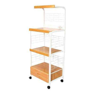 White Microwave Cart With Shelf